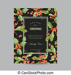 Vintage Holy Berry Christmas Card - Winter Background - in Vector