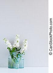 Vintage home decor background, white matthiola flowers in...