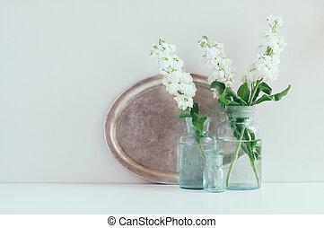 Vintage home decor, white matthiola flowers in different...