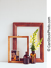 Vintage home decor, two glass brown bottles with flowers,...