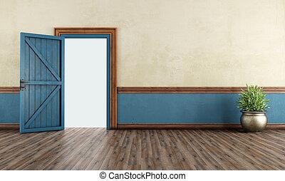 Vintage home entrance with blue open door - 3D Rendering