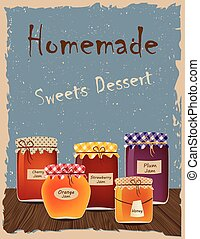 Vintage poster with home-made jams. Sweets Dessert
