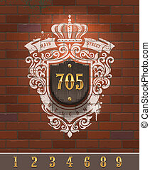 Vintage home number sign with painted heraldic on brick wall