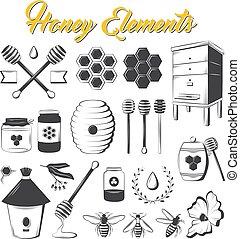 Vintage honey elements