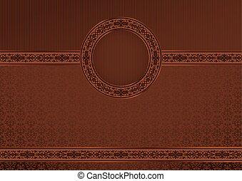 Vintage horizontal card on damask seamless background