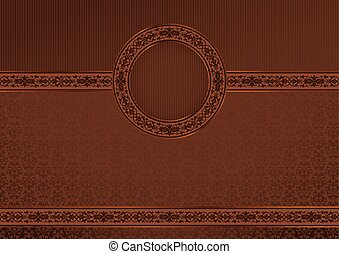 Vintage horizontal card on damask seamless background
