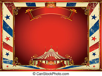 vintage horizontal circus background with big top - A ...
