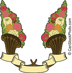 vintage horn of plenty, flowers and banner