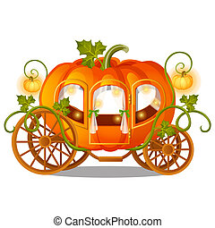 Vintage horse carriage of pumpkin with florid ornament isolated on white background. Sketch for a poster or card for the holiday Halloween or thanksgiving day. Vector cartoon close-up illustration.