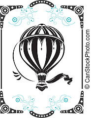 Vintage hot air balloon - Steampunk style frame and vintage...