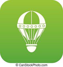 Vintage hot air balloon icon digital green
