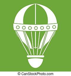Vintage hot air balloon icon green