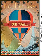 vintage hot air balloon in the sky. Vector background for greeting card. Poster template