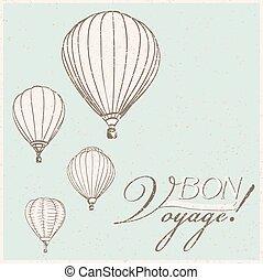 vintage hot air balloons bon voyage background. vector