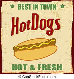 Vintage Hot dog grunge poster background, vector...