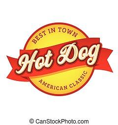 Vintage Hot Dog sign lettering stamp