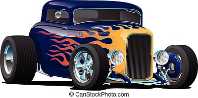Vintage Hot Rod Car with Classic Flames Isolated Vector Illustration
