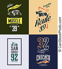 Vintage hot rod, classic car and motorcycle isolated vector t-shirt logo set