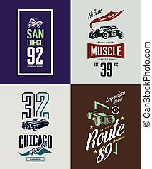 Vintage hot rod, classic car and motorcycle isolated vector t-shirt logo set.