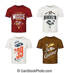 Vintage hot rod, muscle car and pickup vector t-shirt logo mock up set.