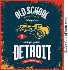 Vintage hot rod vector logo isolated on dark background.
