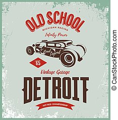 Vintage hot rod vector logo isolated on light background.