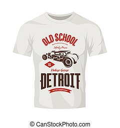 Vintage hot rod vector logo isolated on white t-shirt mock up.