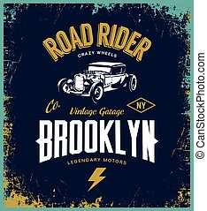 Vintage hot rod vector tee-shirt logo isolated on indigo background. Premium quality old sport car logotype t-shirt emblem illustration. Brooklyn, New York street wear superior retro tee print design.