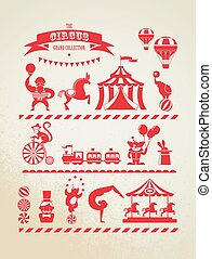 vintage huge circus collection with carnival, fun fair, vector icons and background