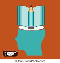 Vintage human head open book, pencil, education