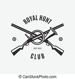 Vintage hunt club logo with rifles