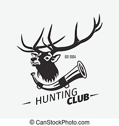 Vintage hunting club logo with deer
