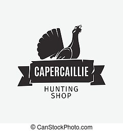 Vintage hunting shop logo grouse silhouette