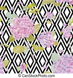Vintage Hydrangea Background - seamless pattern for design, print, scrapbook - in vector
