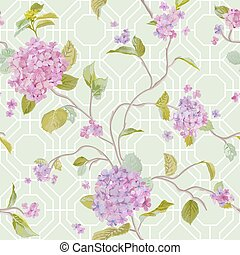 Vintage Hydrangea Geometry Background - seamless pattern for design, scrapbook - in vector