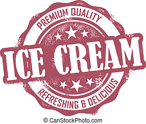 Vintage style distressed Ice Cream dessert stamp.
