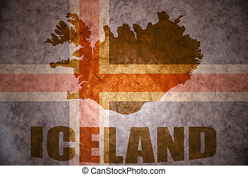 vintage iceland flag - iceland map on a vintage icelandic...