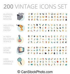 Vintage icons set for business and technology. - Vintage...