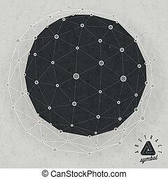 Vintage icosahedron background - Retro vintage style...