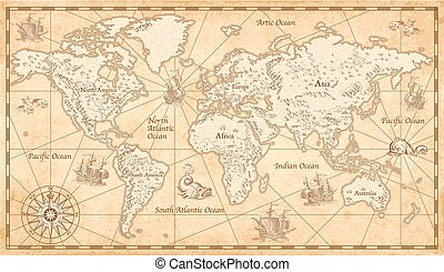 Vintage Illustrated World Map - Great Detail Illustration of...