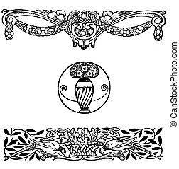 Vintage illustration, art nouveau floral decoration