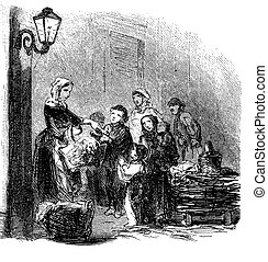 Vintage illustration, charity, giving food to pauper people