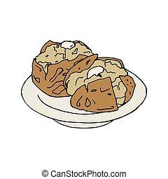 Vintage illustration of a baked jacket potato