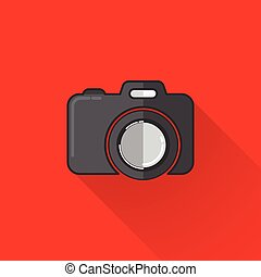 vintage illustration of a camera in flat style with long shadow