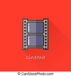 vintage illustration of a film strip in flat style with long shadow