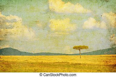 vintage illustration of african landscape
