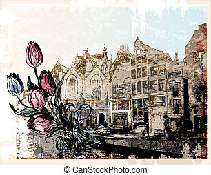 vintage illustration of Amsterdam street. Watercolor style.