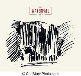Vintage illustration of beautiful waterfall drawn