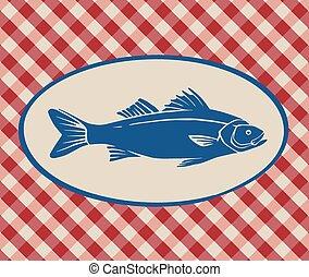Vintage illustration of sea bass over Italian tablecloth...