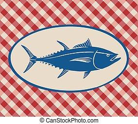 Vintage illustration of tuna fish over Italian tablecloth...